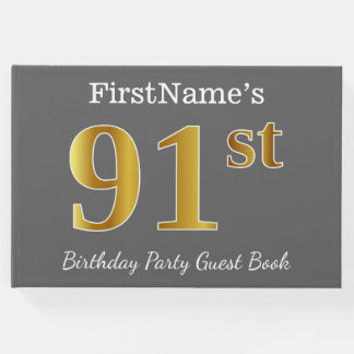 Gray, Faux Gold 91st Birthday Party + Custom Name Guest Book