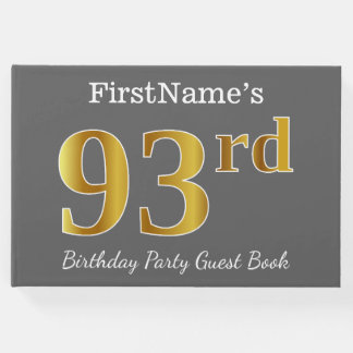 Gray, Faux Gold 93rd Birthday Party + Custom Name Guest Book