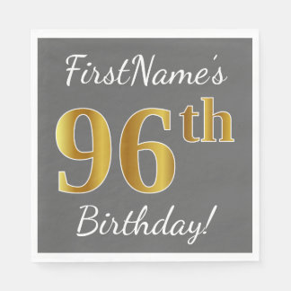 Gray, Faux Gold 96th Birthday + Custom Name Paper Napkins