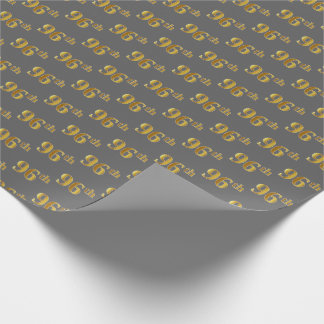 Gray, Faux Gold 96th (Ninety-Sixth) Event Wrapping Paper