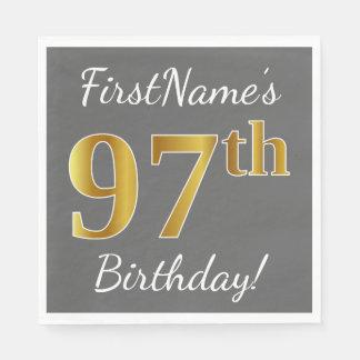 Gray, Faux Gold 97th Birthday + Custom Name Paper Napkin