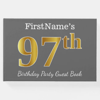 Gray, Faux Gold 97th Birthday Party + Custom Name Guest Book