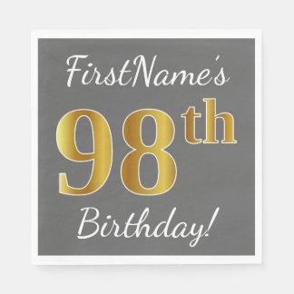 Gray, Faux Gold 98th Birthday + Custom Name Disposable Napkin