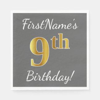 Gray, Faux Gold 9th Birthday + Custom Name Disposable Napkin