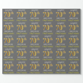 "Gray, Faux Gold ""HAPPY 70th BIRTHDAY"" Wrapping Paper"