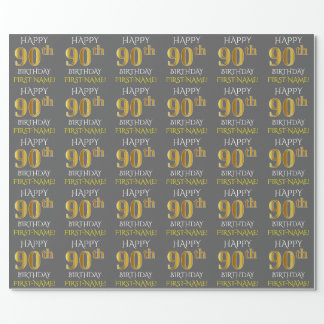 "Gray, Faux Gold ""HAPPY 90th BIRTHDAY"" Wrapping Paper"