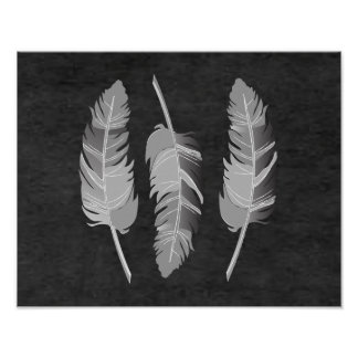 Gray Feathers on Black ChalkBoard Poster