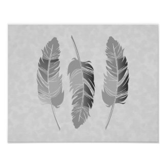 Gray Feathers on Off White Texture Poster