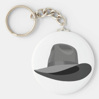 Gray Fedora narrow ribbon Keychain