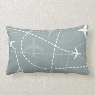 Gray Flight Path Pattern Lumbar Pillow