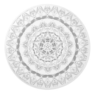 Gray Floral  Damask Mandala Ceramic Knob