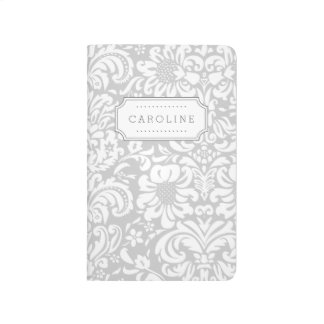 Gray Floral Damask Monogram Journal