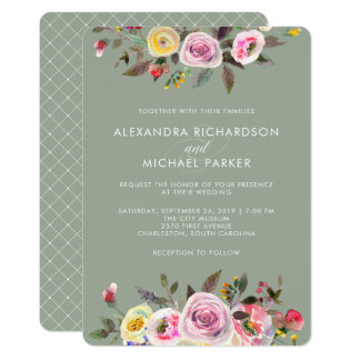 Gray Floral Fantasy | Modern Watercolor Wedding Card