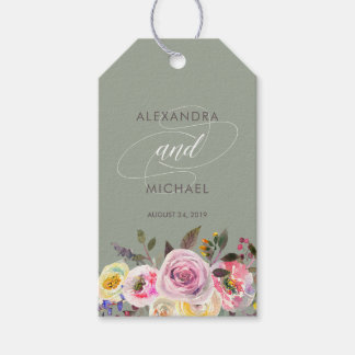 Gray Floral Fantasy | Watercolor Wedding Favor Pack Of Gift Tags