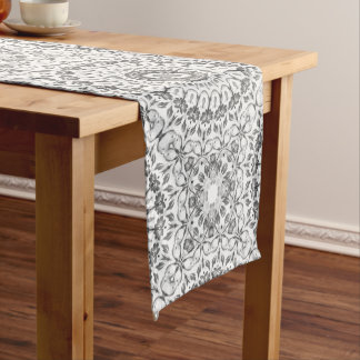 Gray Floral Mandala Pattern Medium Table Runner