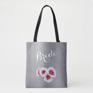 Gray Floral Personalized Bride Wedding Tote Bag