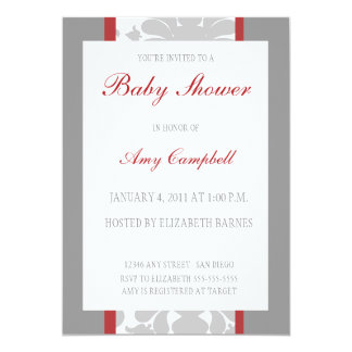 Gray Floral Ribbon Baby Shower Invitation-red Card