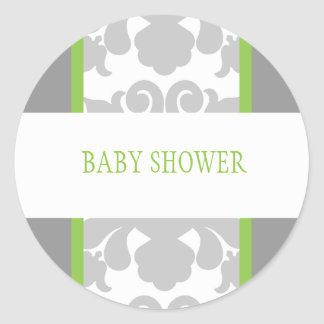 Gray Floral Ribbon Sticker-lime Round Sticker