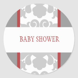 Gray Floral Ribbon Sticker-red Round Sticker