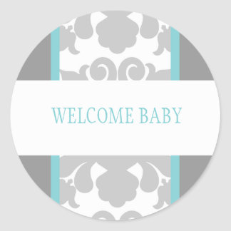 Gray Floral Ribbon Sticker-turquoise Classic Round Sticker