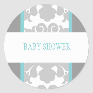 Gray Floral Ribbon Sticker-turquoise Round Sticker