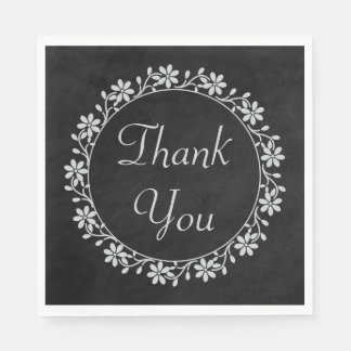 Gray Floral Thank You Black Chalkboard Wedding Paper Napkin