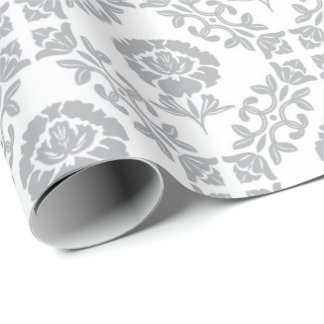 Gray Floral White Lily Princess Wreath Antoinette Wrapping Paper