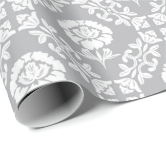 Gray Floral White Lily Princess Wreath Palace Wrapping Paper