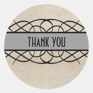 Gray Flourish Border Thank You Stickers