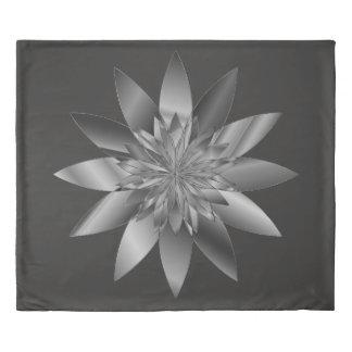 Gray Flower Mandala design Duvet Cover