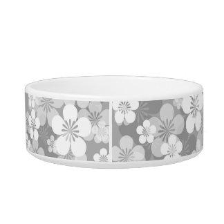Gray Flower Pattern Medium Pet Bowl