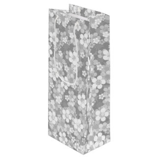 Gray Flower Pattern Wine Gift Bag
