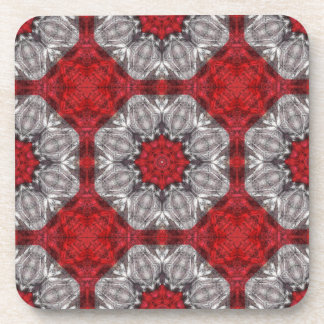 Gray Flower With Red On Textured Red Beverage Coaster
