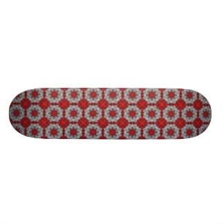 Gray Flower With Red On Textured Red Custom Skate Board