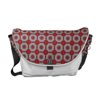 Gray Flower With Red On Textured Red Messenger Bags