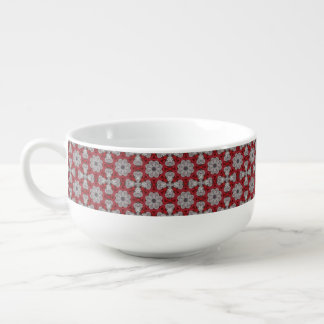 Gray Flowers And Crosses On Textured Red Soup Mug