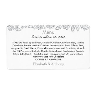 gray flowers & leaves on white wedding menu shipping label
