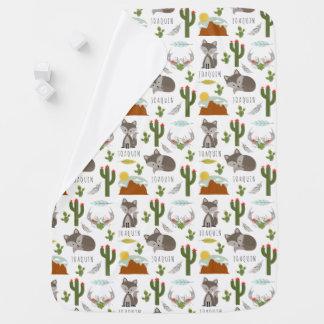 Gray Fox Desert Pattern Baby Blanket