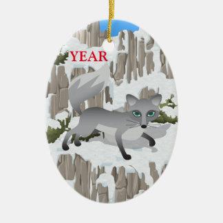 Gray Fox in Winter Ceramic Ornament