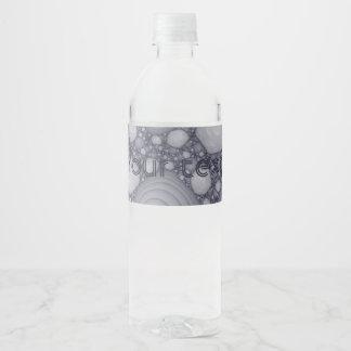 Gray fractal water bottle label
