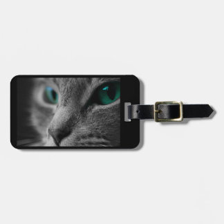Gray Fur Cat Face with Beautiful Green Eyes Luggage Tag