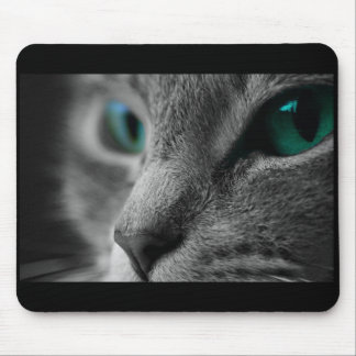 Gray Fur Cat Face with Beautiful Green Eyes Mouse Pad