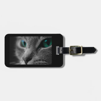 Gray Furred Cat with Striking Green Eyes Luggage Tag