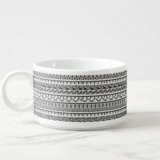 Gray Geometric Abstract Aztec Tribal Print Pattern Chili Bowl