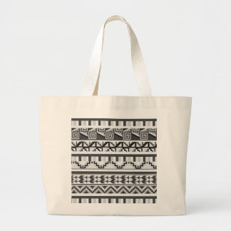 Gray Geometric Abstract Aztec Tribal Print Pattern Jumbo Tote Bag
