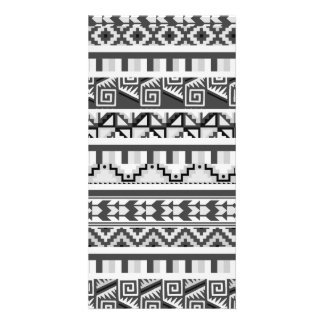 Gray Geometric Abstract Aztec Tribal Print Pattern Photo Card