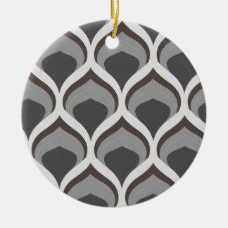 gray geometric drops round ceramic ornament