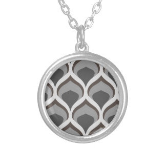 gray geometric drops silver plated necklace