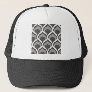 gray geometric drops trucker hat