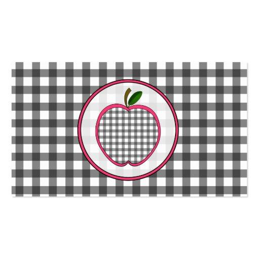 Gray Gingham Apple Fashion Teacher Business Card